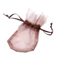 Brown crystal flower bag 9x14cm.