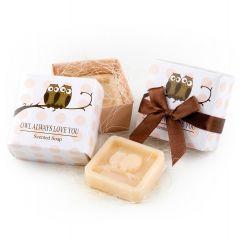 Jabón perfumado búhos en caja regalo+lazo