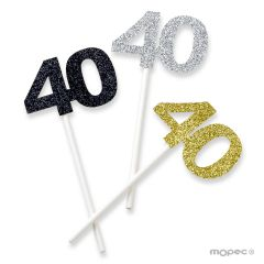 Stick 40 years assort. silver, gold and black glitter