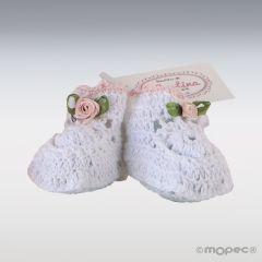 Botita ganchillo blanca flor rosa 3,5x4x5cm, min.6.