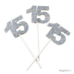 Paper stick 15 years in silver with glitter effect, bag of 6