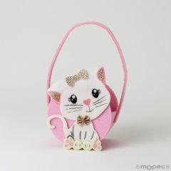 Kitten felt basket 11x18cm.(handle included)