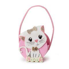 Cestino in feltro gattino 11x18 cm. (Manico incluso)