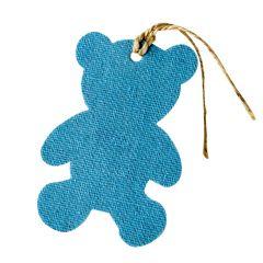 Colgante textil decorativo osito azul,8cm. min.6