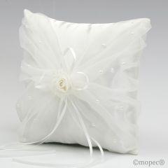 Cojín alianzas flor con perlitas, marfil 20x20cm