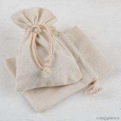 Bolsa algodón marfil 7,5x10cm. min.12