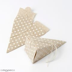 Caja-pirámide beige con topos 5x11x5cm., min.12