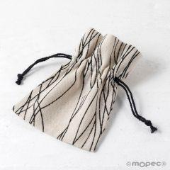 Bolsa algodón líneas negras 10x13cm, min.24