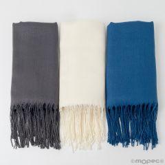 Pashmina gris, azul y marfil, mínimo 3