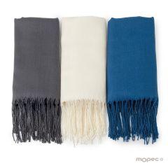 Pashmina grise, bleue et ivoire 170x55cm.