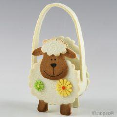 Cesta ovejita con flores 22cm.(asas)