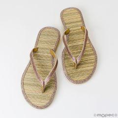 Flip flop bambú detalle lamé talla L, min.2