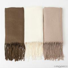 Pashmina marrón,beige y marfil  mínimo 3