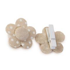 Pinza flor color beige con topos marfil 4,5x4,5cm., min.6