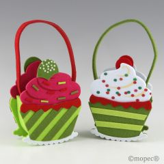 Cesta cupcake de fieltro verde 15x7,5x30cm. min.2 P.GOLOSO