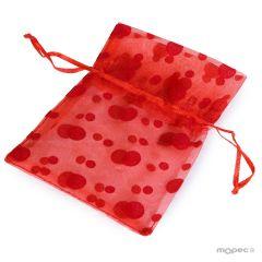 Bolsa topos roja 14x10cm, min.12