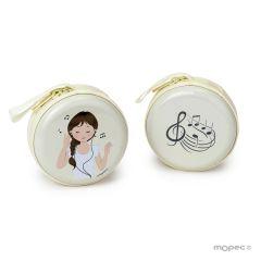 Metallic coin purse girl music with zipper Ø7cm.