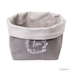 Corbeille à pain de coton gris Love 17x31x15cm