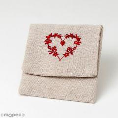 Guardatodo beige con corazón bordado, mínimo 10