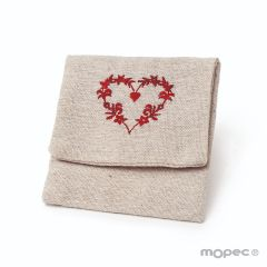 Beige bag with embroided heart 11x10cm.