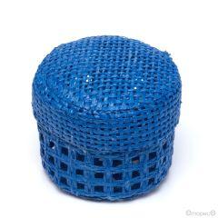 Electric blue grid round box 5x4cm.