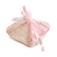 Pañuelo rosa de rafia con cinta , min.12 P.GOLOSO