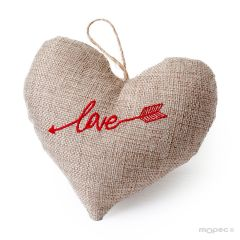 Hanging heart burlap cushion