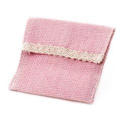 Sachet rose avec velcro 11x8,5cm.