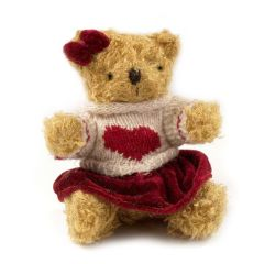 Female teddy bear jersey burgandy heart