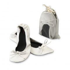 Bailarina blanca imit. piel+bolsa, talla L min.2