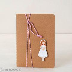 Libreta pequeña adornada figura niña Comunión vestido corto