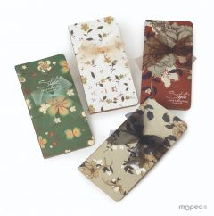 Decorated flower notebook 9x17cm 4 assorted