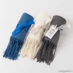 Pashmina gris, azul y marfil, lazo mínimo 3