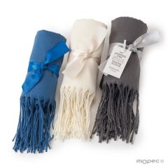 Gray, blue and ivory pashmina 170x55cm with ribbon
