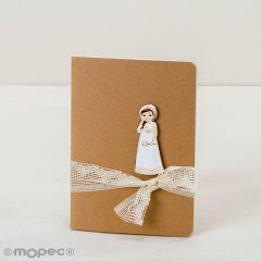 Libreta pequeña adornada figura niña Comunión romántica