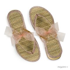 Bambú flip-flop with lamé details size M with ribbon