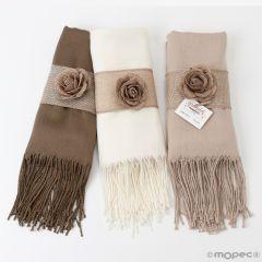 Pashmina marrón,beige y marfil, adorno yute, mínimo 3