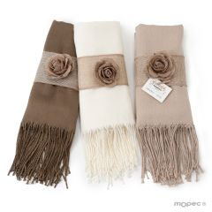 Brown, beige and ivory pashmina 170x55cm with jute ornament