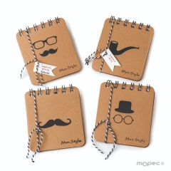 Decorated Men Style notebook 4 assorted