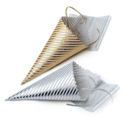 Cono plateado rayas con bolsa y cinta 19x5x5cm, min.12