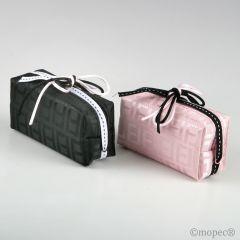 Bolsita cremallera rosa/negro adornado min.2