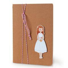 Libreta grande adornada figura niña Comunión vestido corto