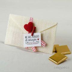 Sobre S.Valentín, 3 napolitanas, tarjeta incluida*