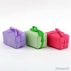 Green/lilac/fuchsia case with zipper 2 chocolates