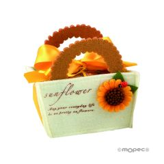Sunflower felt basket with 8 chocolates16x12cm S.PRICE