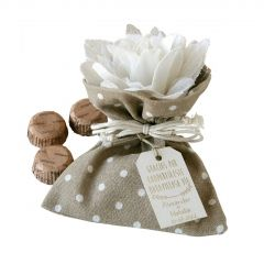 Bolsita marrón 3 bombones flor marfil 2 texturas*