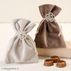 Spilla fiori strass busta velluto visone/beige cioccolatini