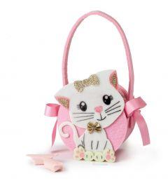 Kitten felt basket 10 candies 11x18cm.(handle incl.)
