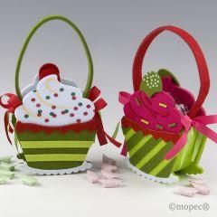 Cesta fieltro cupcake 16 caramelos,stdo.min.2 P.GOLOSO*