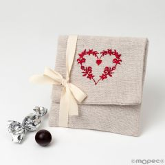 Guardatodo beige 4 croki-choc corazón bordado rojo